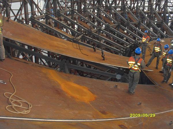 核電AP1000:CV封頭模具拼裝現場